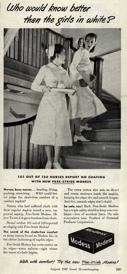 Modes's Sanitary Napkins – Who would know better than the girls in white? (1947)