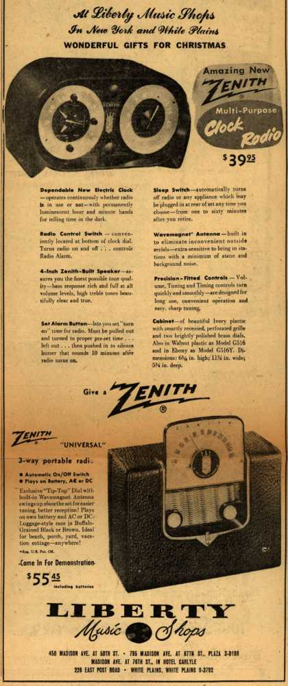 Zenith Corporation's Clock-Radio – Amazing New Zenith Multi-Purpose Clock Radio (1950)