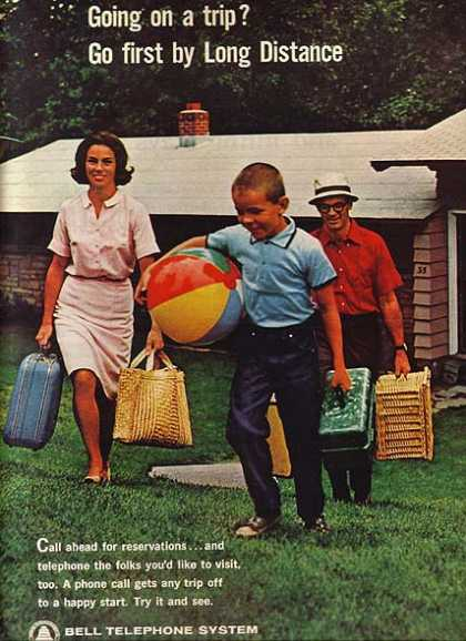 """Bell's """"Going on a trip? Go first by Long Distance."""" (1964)"""