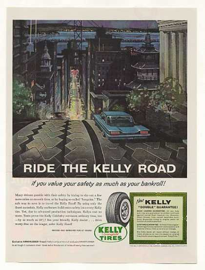 Ride the Kelly Road Tires San Francisco art (1961)