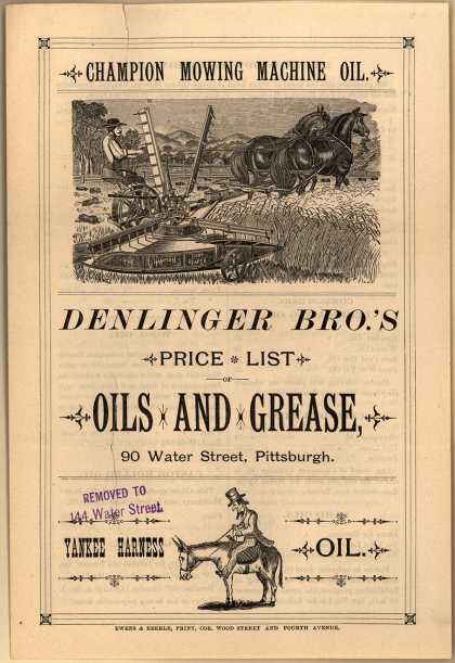 Denlinger Bros.&#8217;s Champion Mowing Machine Oil &#8211; Price List: Oils and Grease