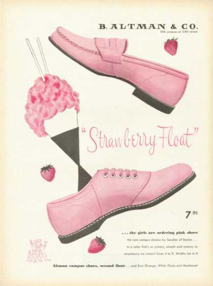 B. Altman Co Ad Strawberry Float Pink Shoes (1955)
