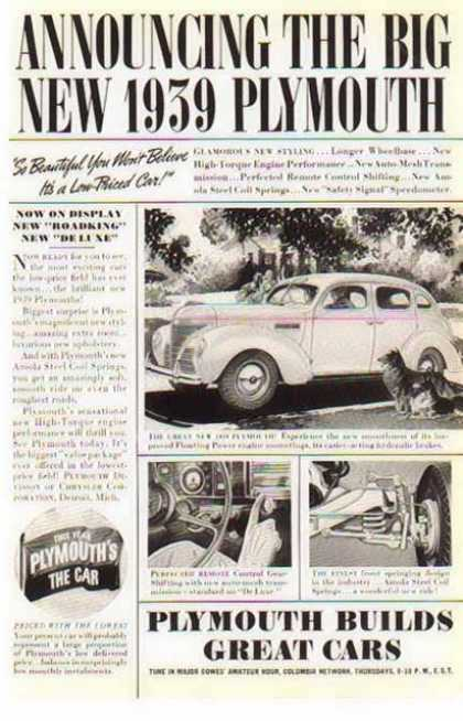 Plymouth Car – The Big New 1939 (1938)