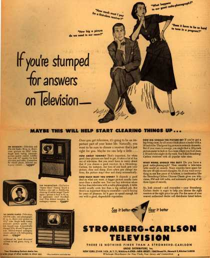 Stromberg-Carlson Television's various – If you're stumped for answers on Television- (1949)