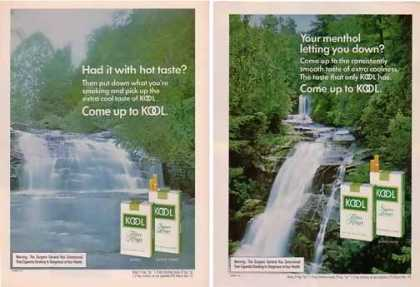 Kool Cigarettes Ads – Extra Coolness Waterfalls Set of 2 (1976)