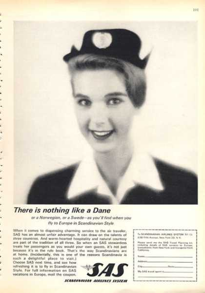 Scandinavian Airline Sas Ad Dane Swede Stewardess (1963)