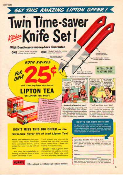 Lipton Tea – Knife Set offer with comic strip (1950)