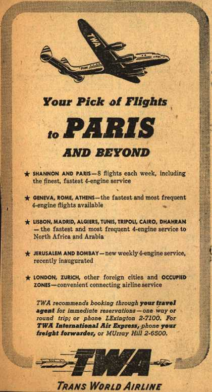 Trans World Airline's Paris – Your Pick of Flights to Paris And Beyond (1947)