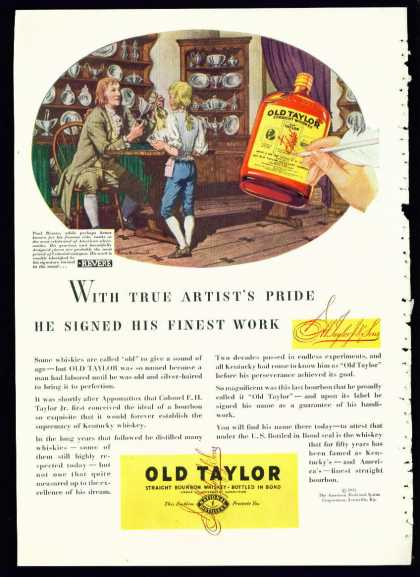 Old Taylor Bourbon Whiskey Ad Paul Revere (1935)