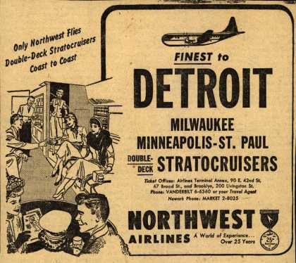 Northwest Airline's various destinations – Finest to DETROIT (1951)
