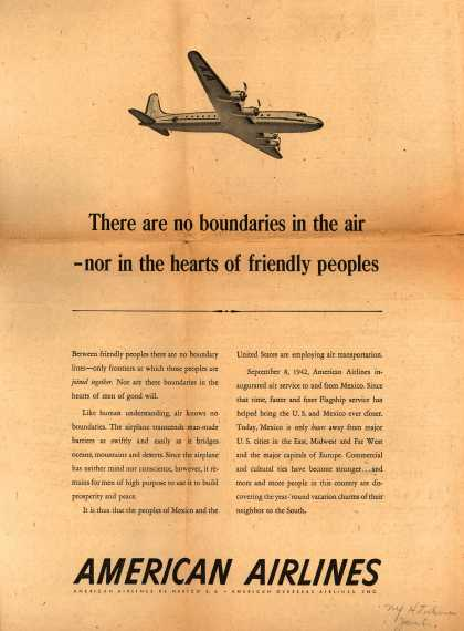 American Airlines – There are no Boundaries in the Air- nor in the Hearts of Friendly Peoples (1948)
