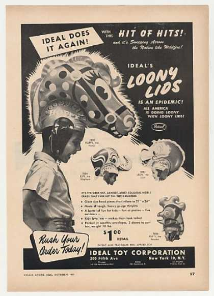 Ideal Toy Loony Lids Inflatable Kids Hats Trade (1951)