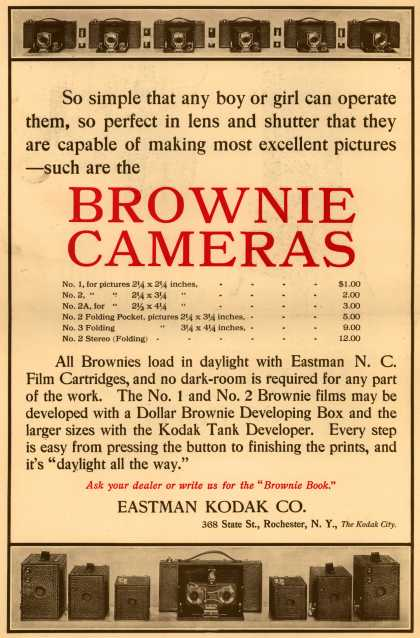 Kodak's Brownie cameras – So simple that any boy or girl can operate them, so perfect in lens and shutter that they are capable of making most excellent pictures -such are the (1907)