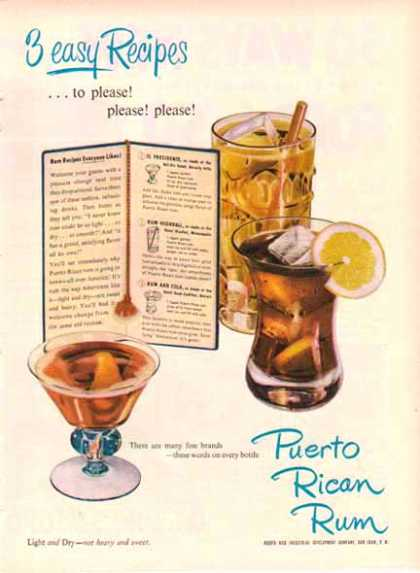 Puerto Rican Rum – 3 easy Recipes – Sold (1949)