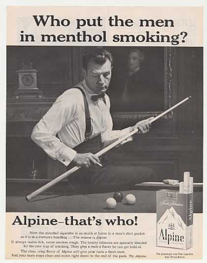 Alpine Cigarette Man Play Pool Billiards Photo (1961)