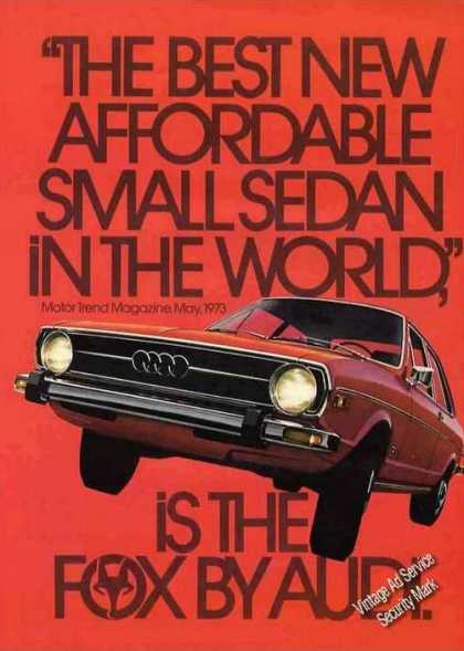 "Fox By Audi ""Best New Affordable Small Sedan"" (1973)"