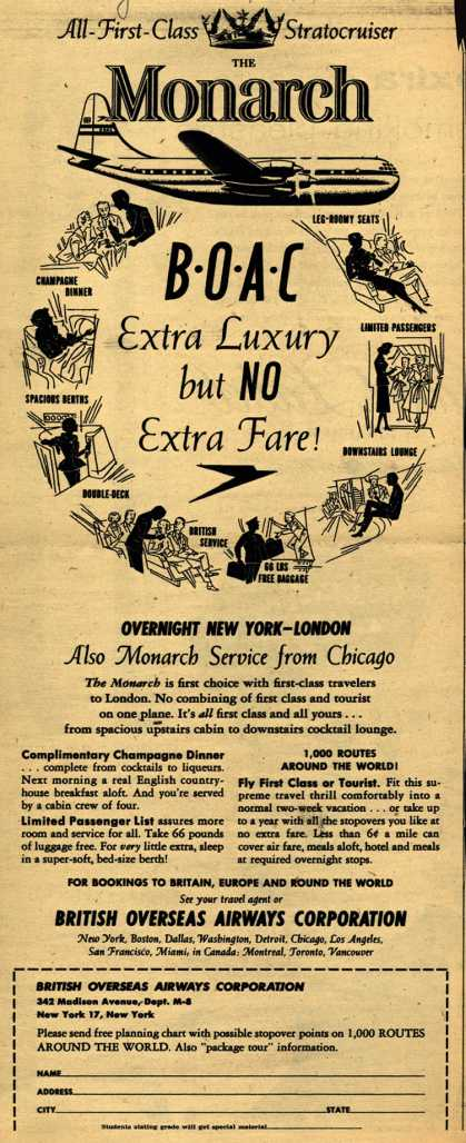 British Overseas Airways Corporation – BOAC Extra Luxury but NO Extra Fare (1954)