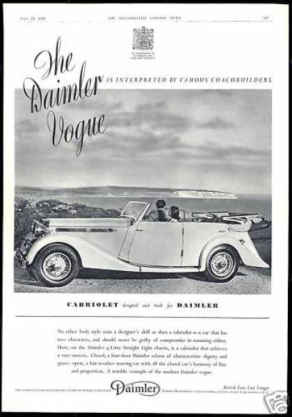 Daimler Cabriolet 4 Door Car Photo Vintage UK (1939)
