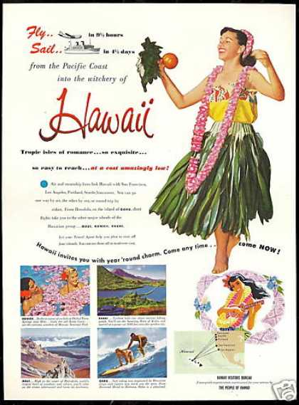 Hawaii Travel Hula Kauai Maui Oahu (1952)