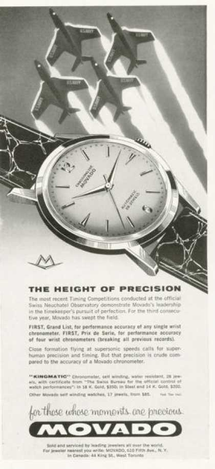 Movado Chronometer Kingmatic Watch Ad Jet Plane (1959)