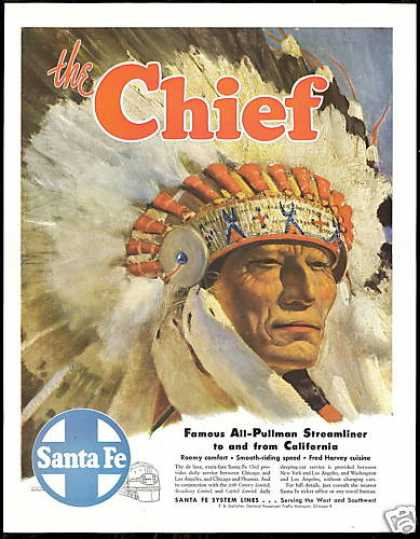 Santa Fe Chief Headdress Art Train Railroad (1947)