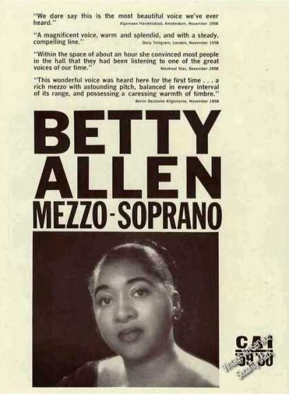 Betty Allen Photo Mezzo-soprano Booking (1959)