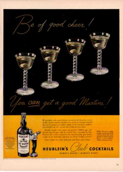 '42 Heublein Club Dry Martini Bottle Crystal (1942)
