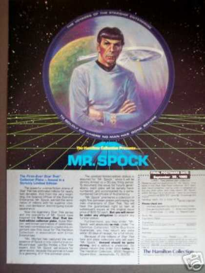 Mr Spock Star Trek Collector Plate Hamilton (1985)
