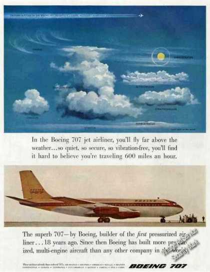 Boeing 707 Jet Airliner Above the Clouds (1957)