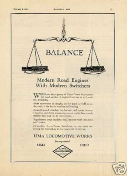 "Lima Locomotive Ad ""Balance Modern Road Engines... (1930)"