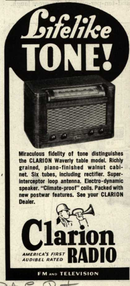 Clarion Radio's Clarion Waverly table model – Lifelike Tone (1946)