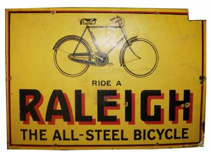 Raleigh All Steel Bicycles Sign