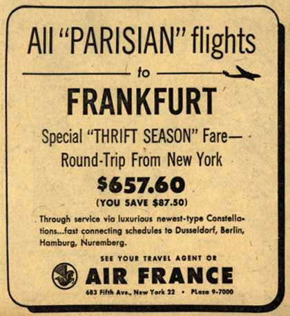 "Air France's Frankfurt Roundtrip from New York – All ""Parisian"" flights (1951)"