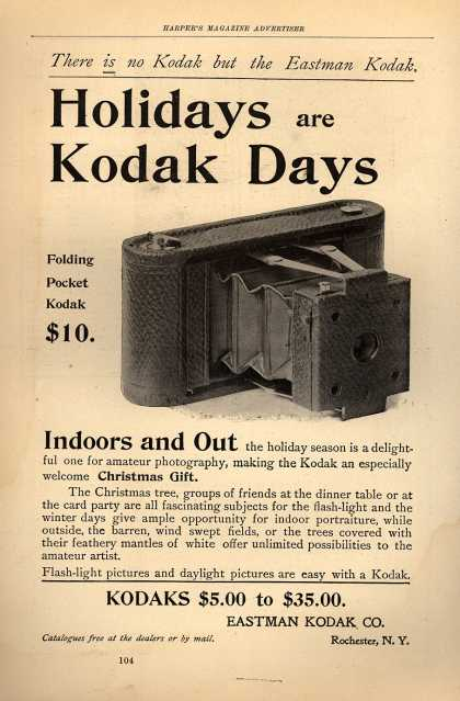 Kodak&#8217;s Folding Pocket cameras &#8211; Holidays are Kodak Days (1898)