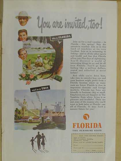 Florida Tourism Ad. You are invited too. (1947)