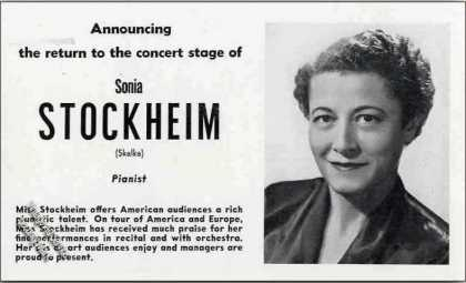 Sonia Stockheim Photo Pianist Trade (1951)