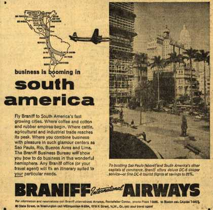 Braniff International Airway's Business Travel – Business is booming in South America (1954)