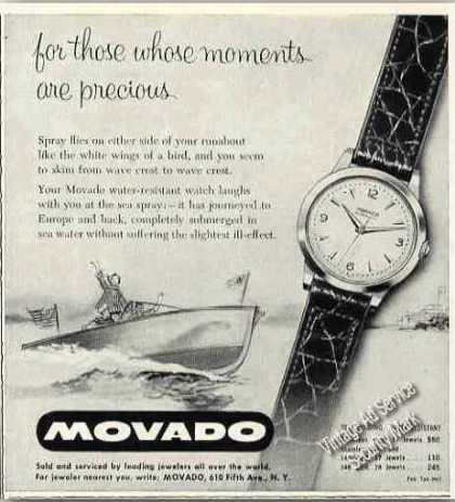 Movado Water-resistant Watch Precious Moments (1955)