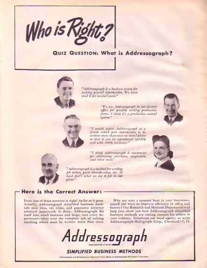 Addressograph Mulitigraph – Who Is Right? (1945)