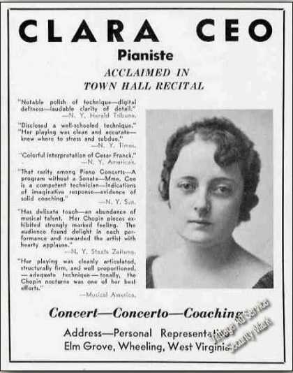 Clara Ceo Photo Pianiste Booking (1939)
