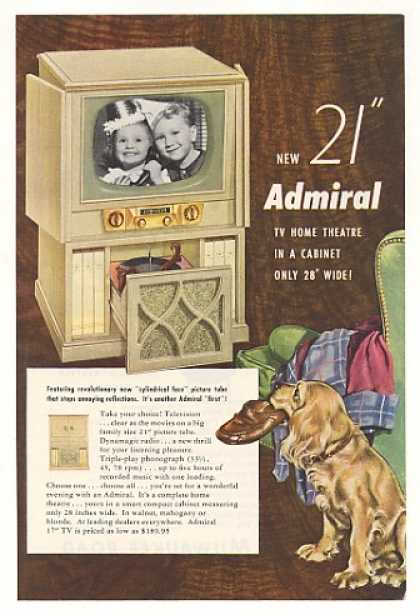 "Admiral 21"" TV Radio Phonograph Home Theatre (1952)"