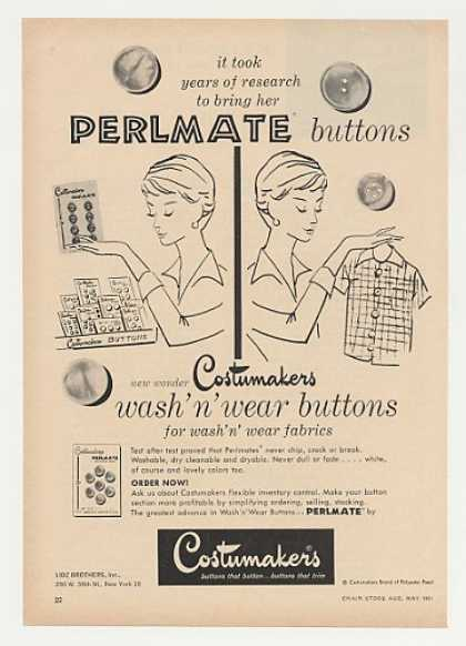 Lidz Costumakers Perlmate Wash 'n Wear Buttons (1961)