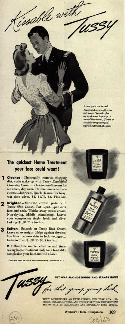 Lehn & Fink Products Corp.'s Tussy Cosmetics – Kissable with Tussy (1943)
