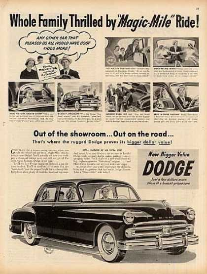 "Dodge Car Ad ""Whole Family Thrilled... (1951)"