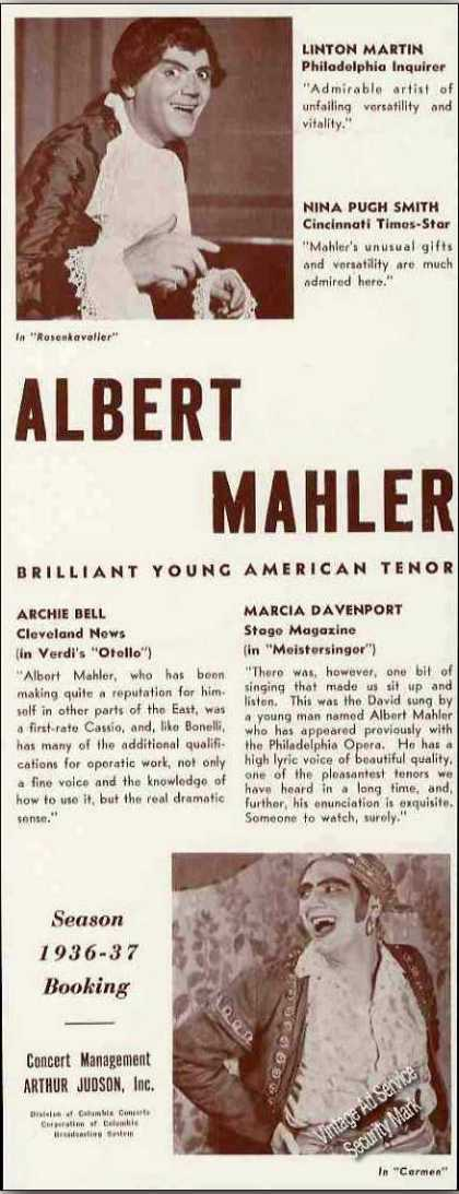 Albert Mahler Photos American Tenor Booking (1936)