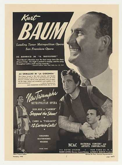 Met Opera Tenor Kurt Baum Photo (1948)