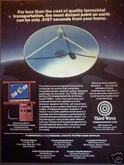 Third Wave Communications Home Satellite for Tv (1981)