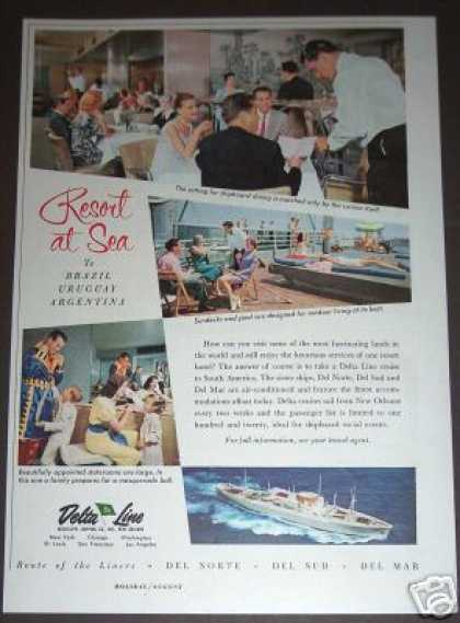 Delta Lines Cruise Ship Ad South America (1958)
