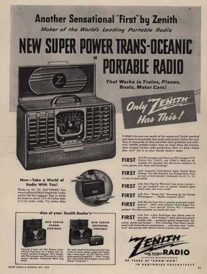 Zenith Radio Corporation's various – NEW SUPER POWERTRANS-OCEANIC PORTABLE RADIO (1946)