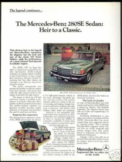 Mercedes Benz 280SE 280-SE Vintage Print Photo (1977)